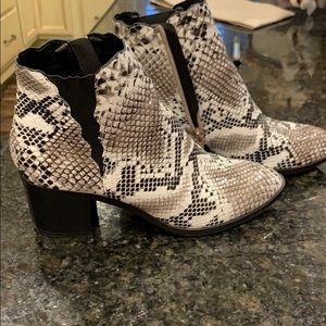Snake skin booties